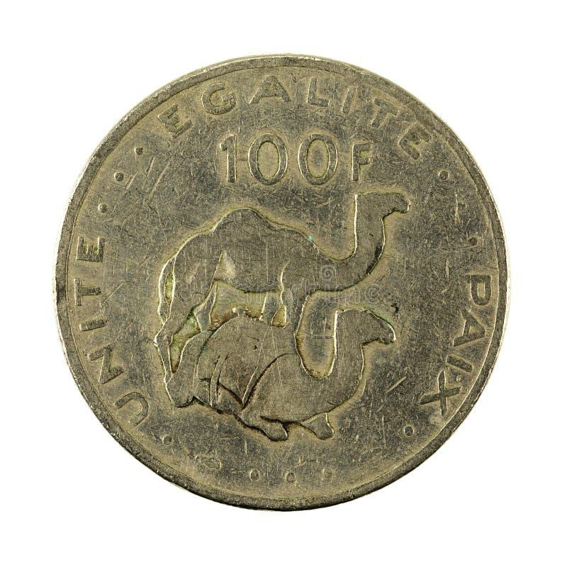 100 face de la pièce de monnaie 1977 de franc de Djiboutien image stock