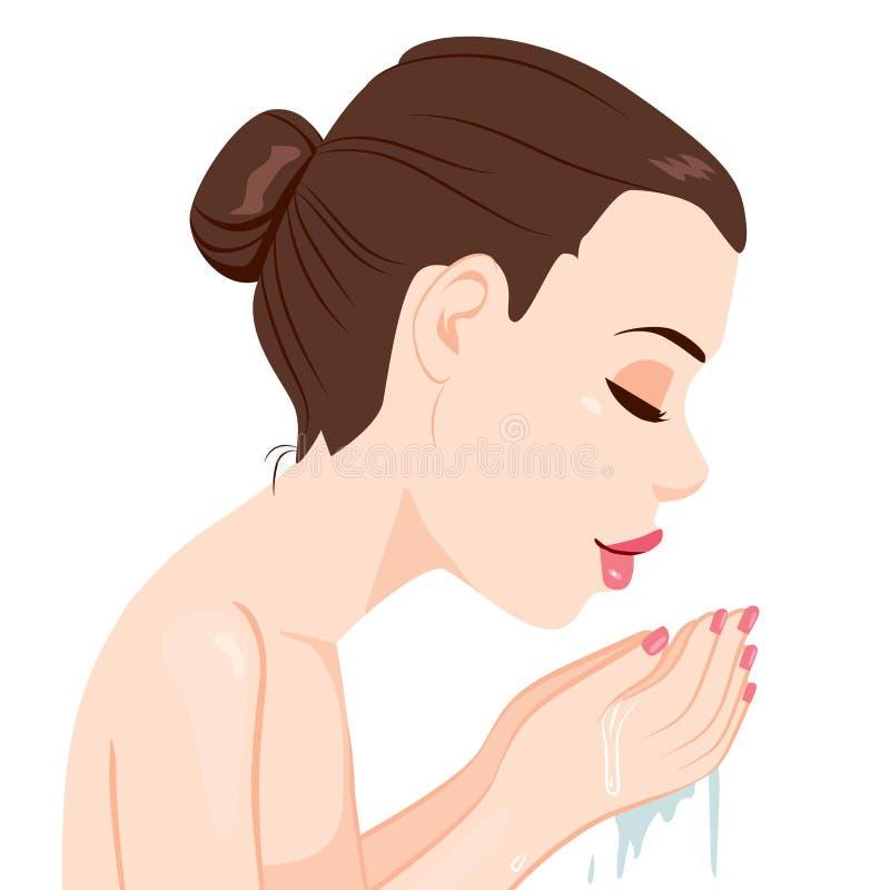 Face de lavagem da mulher com água ilustração stock