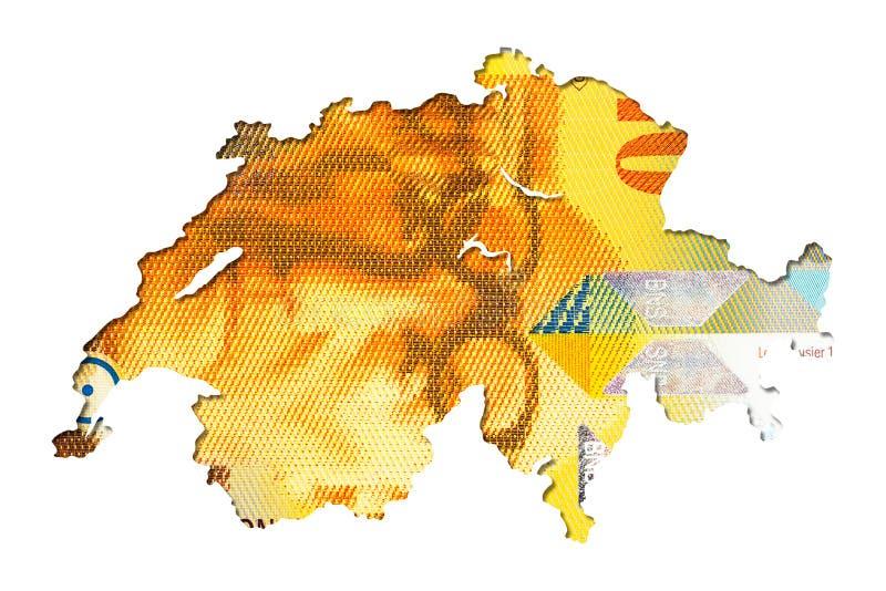 face de note du franc 10 suisse dans la forme de la Suisse illustration libre de droits