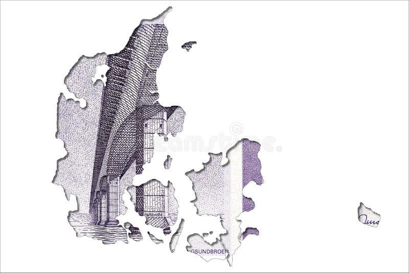 face de note de la couronne 50 danoise dans la forme du Danemark illustration stock