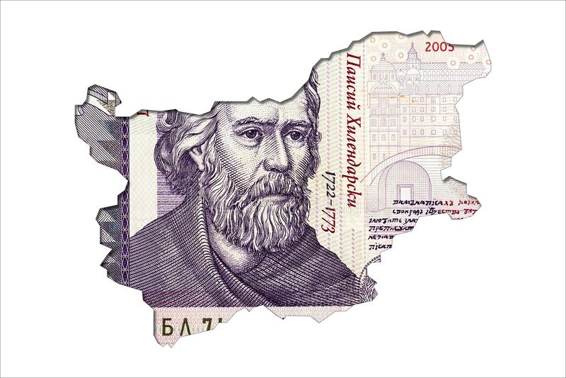 face de note de lev de 2 Bulgares dans la forme de la Bulgarie image stock