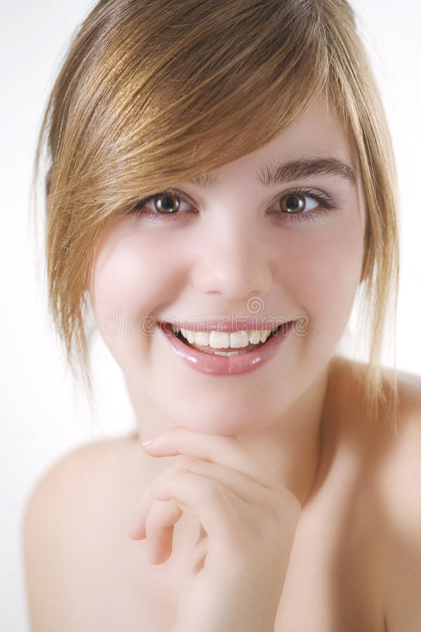 Face de sorriso do Close-up da mulher bonita imagem de stock royalty free