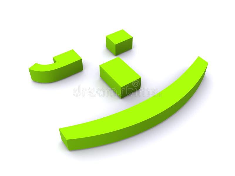 Face de sorriso verde abstrata ilustração royalty free