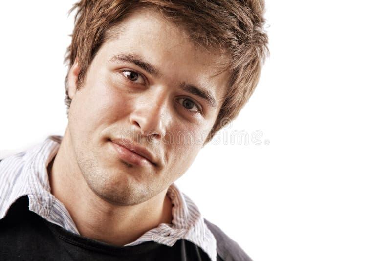 Face de um estudante masculino confiável considerável imagens de stock