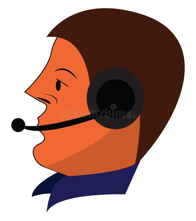 Face de um operador com seus fones de ouvido e usa um desenho ou ilustração vetorial de camisa de colarinho de alto pescoço ilustração royalty free