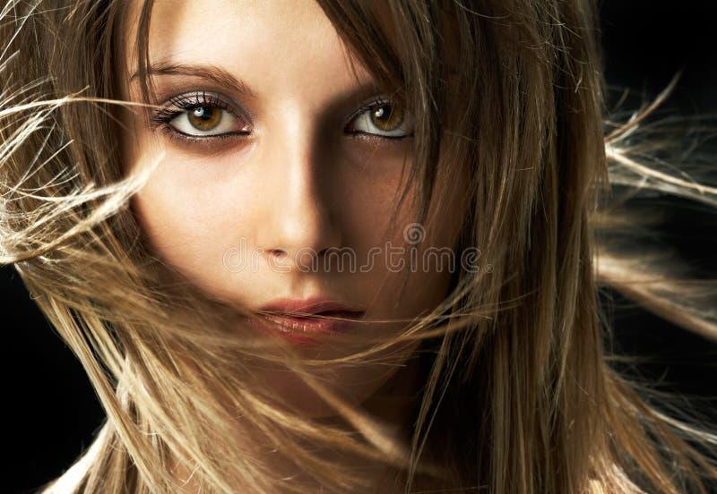 Face de uma menina nova da beleza imagens de stock