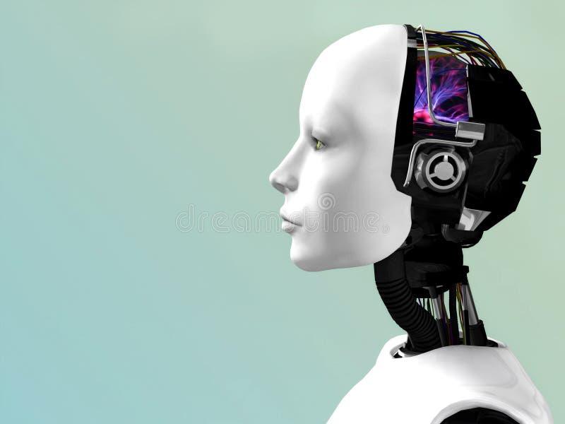 A face de uma mulher do robô.
