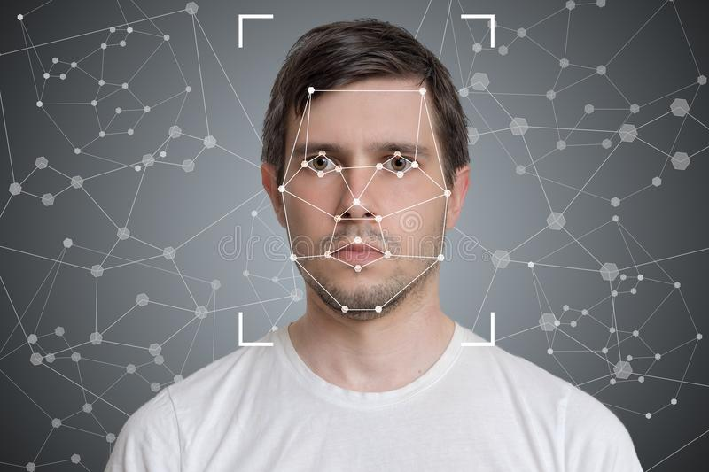 Face detection and recognition of man. Computer vision and artificial intelligence concept.  stock photos