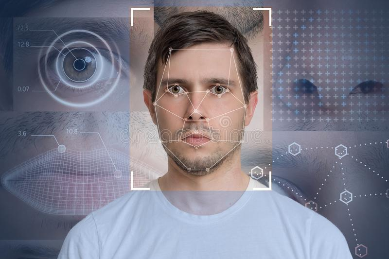 Face detection and recognition of man. Computer vision and machine learning concept.  royalty free stock image