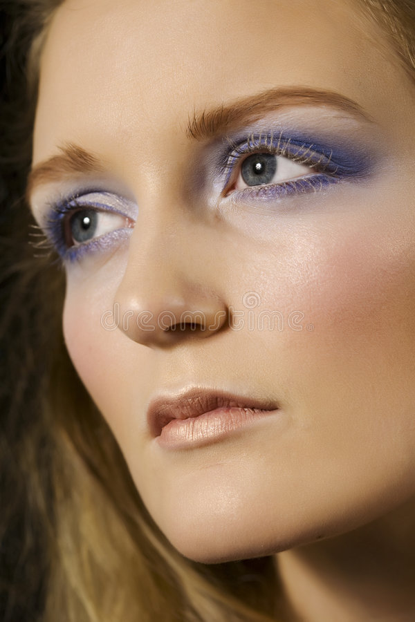 Face of a Diva. Beautiful blond with glamorous frosted makeup stock images