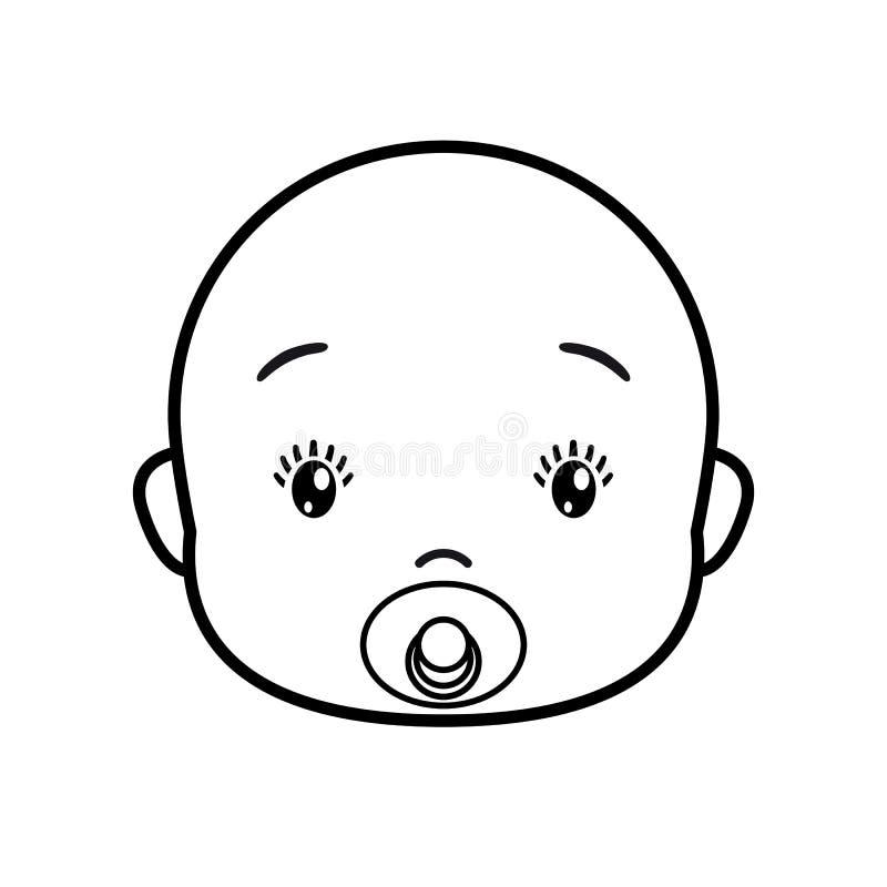Face do bebê Ícone em um fundo branco, linha projeto do bebê ilustração royalty free
