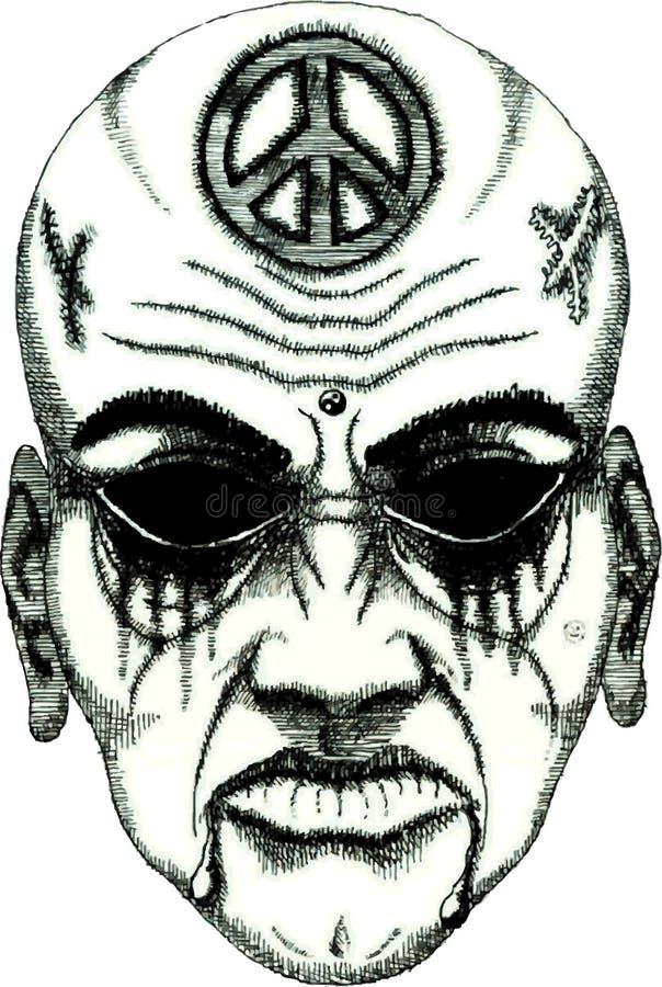 Face do demónio do tatuagem ilustração stock