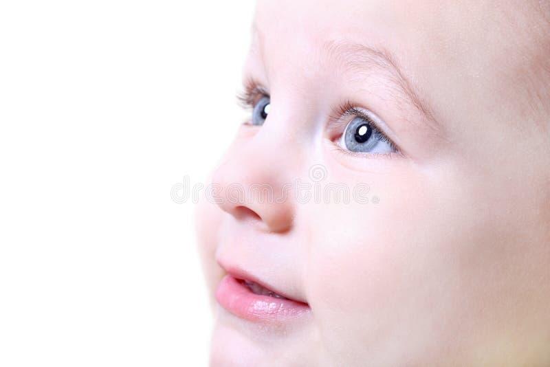 Face do fim agradável do bebê acima fotografia de stock
