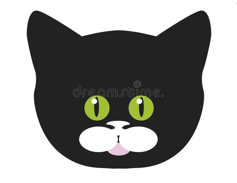 Face do gato preto ilustração do vetor
