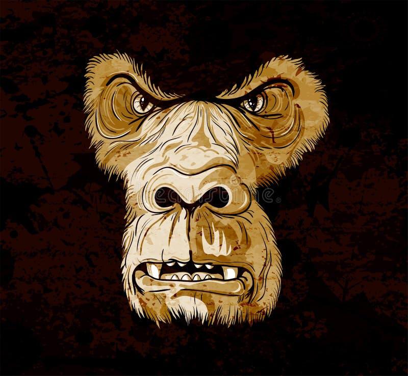 Face do gorila de Grunge ilustração stock