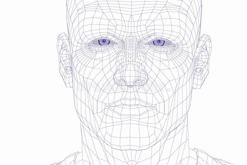 Face do homem do cyber do frame do fio ilustração royalty free
