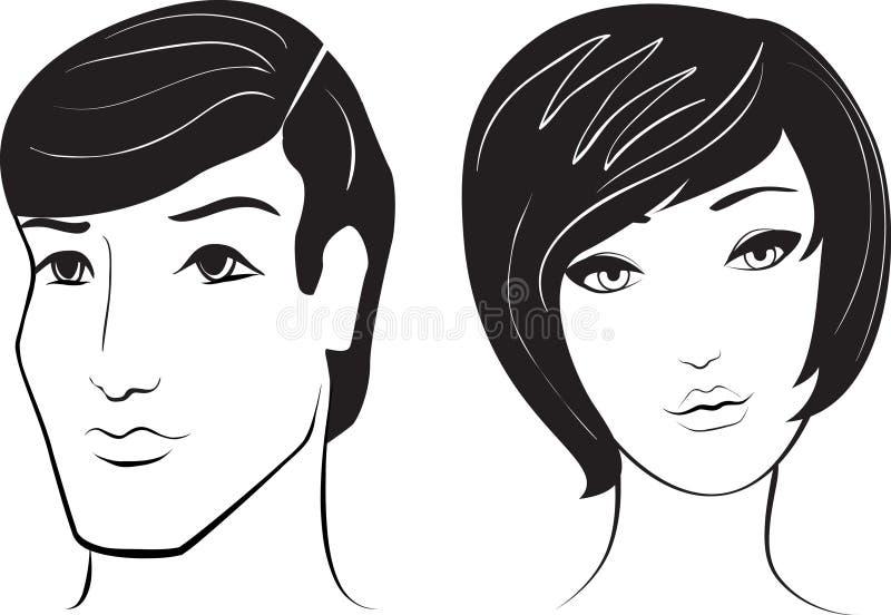 Face do homem e da mulher do vetor ilustração royalty free