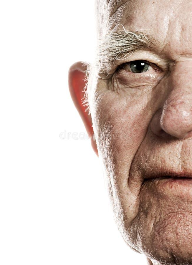 Face do homem idoso fotografia de stock