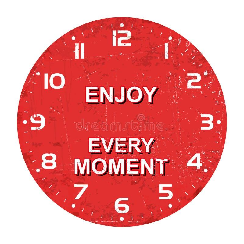 Face do relógio - aprecie cada momento, textura oxidada, ilustração do vetor ilustração stock