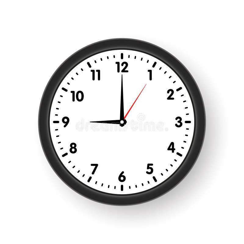 Face do relógio com sombra no fundo branco Ilustração do vetor ilustração do vetor