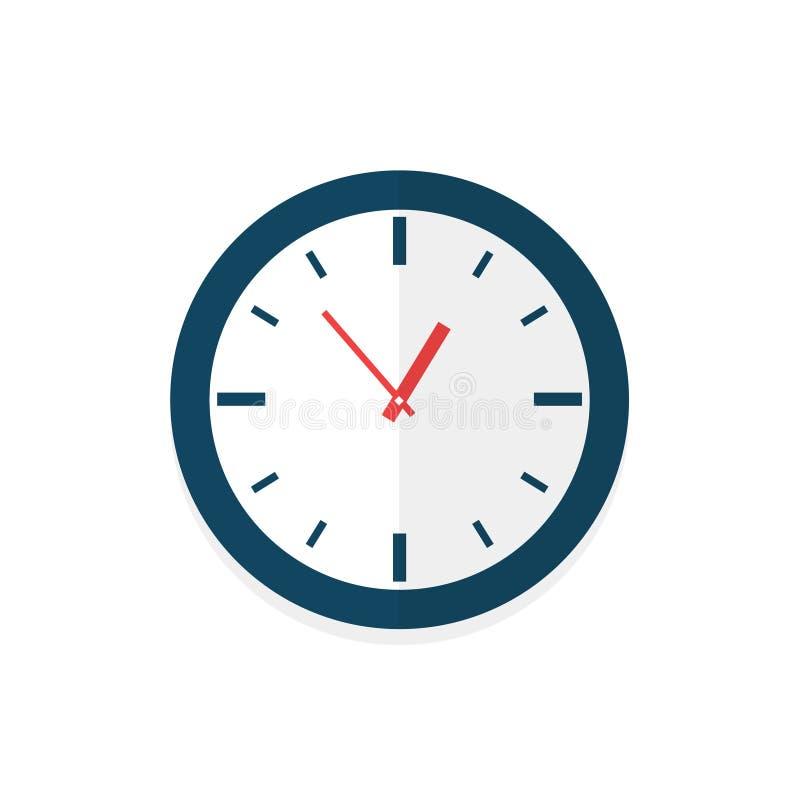 Face do relógio com sombra no fundo branco Ilustração do vetor ilustração stock