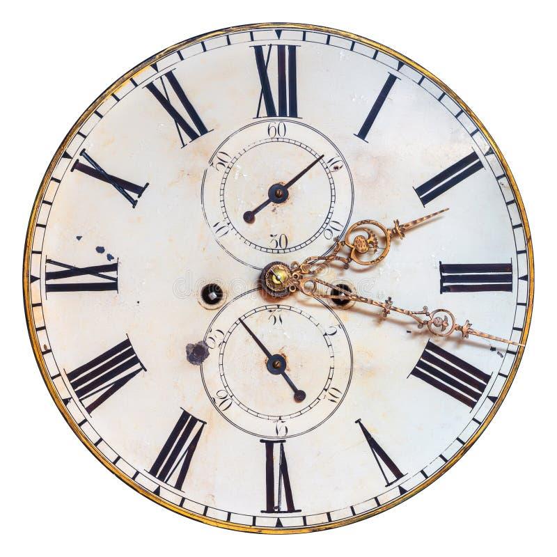 Face do relógio decorativa antiga isolada no branco foto de stock