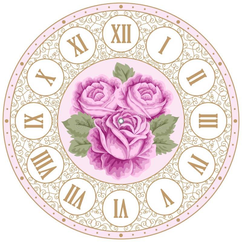 Face do relógio do vintage com rosas ilustração do vetor
