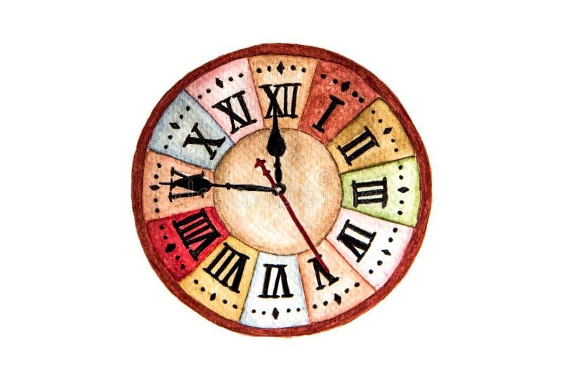 Face do relógio do vintage isolada no fundo branco foto de stock