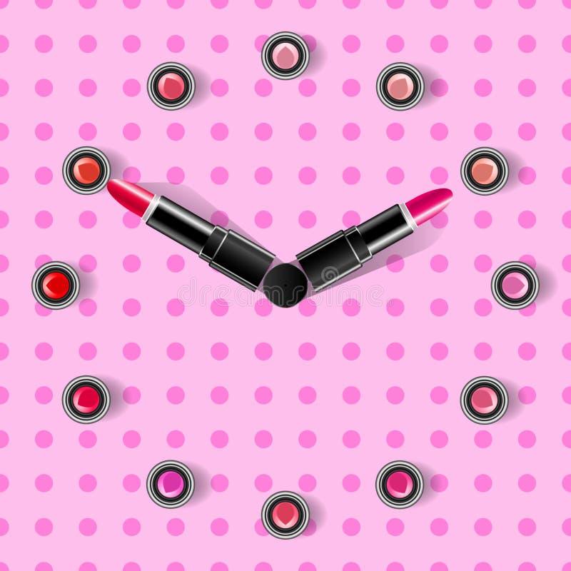 Face do relógio e setas em um fundo cor-de-rosa feito dos batons ilustração stock