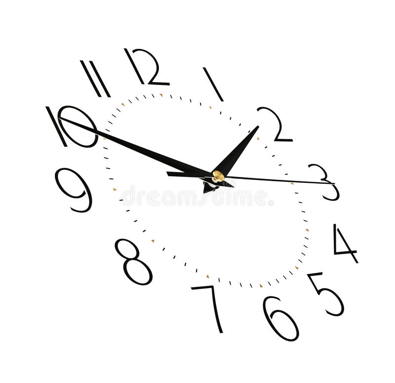 Face do relógio isolada no fundo branco - cronometre o conceito imagens de stock