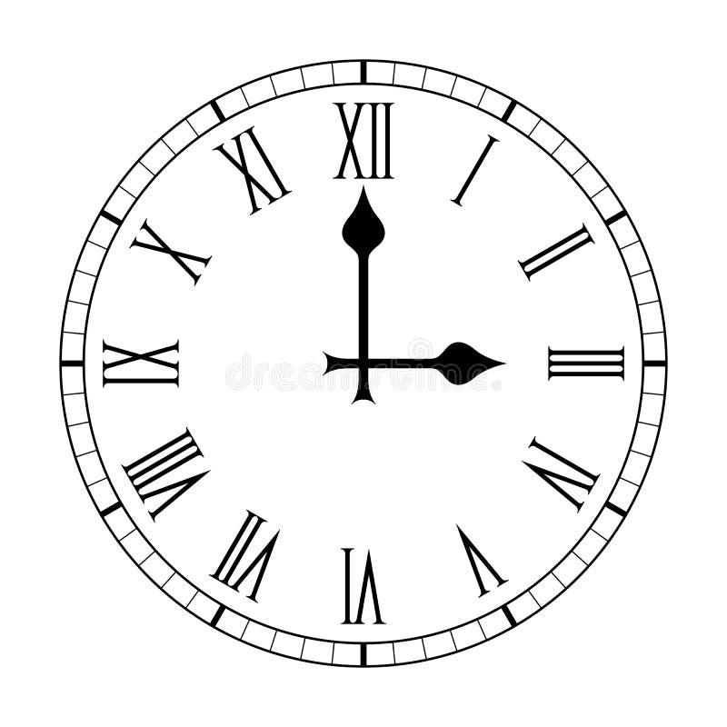 Face do relógio lisa de numeral romano no branco ilustração do vetor