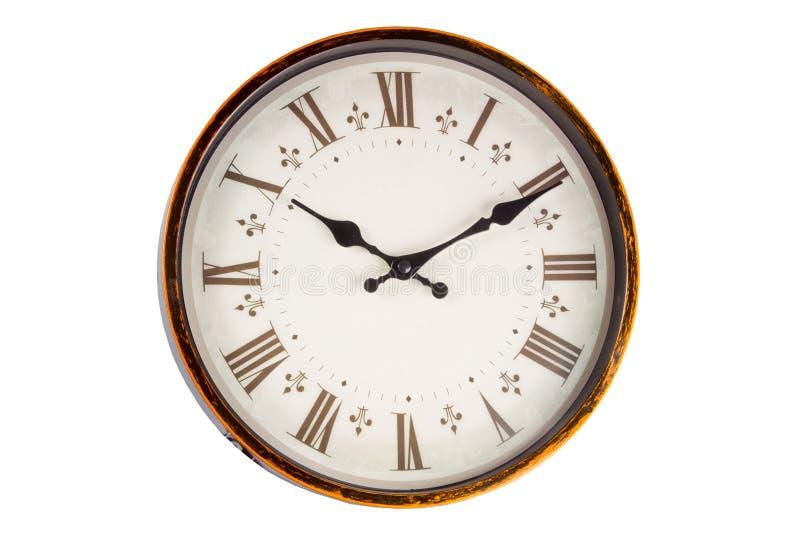 Face do relógio velha do vintage no fundo branco imagem de stock