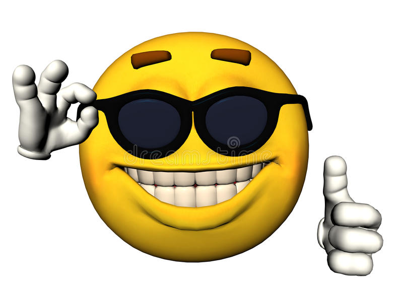 Face do smiley com polegares acima ilustração do vetor
