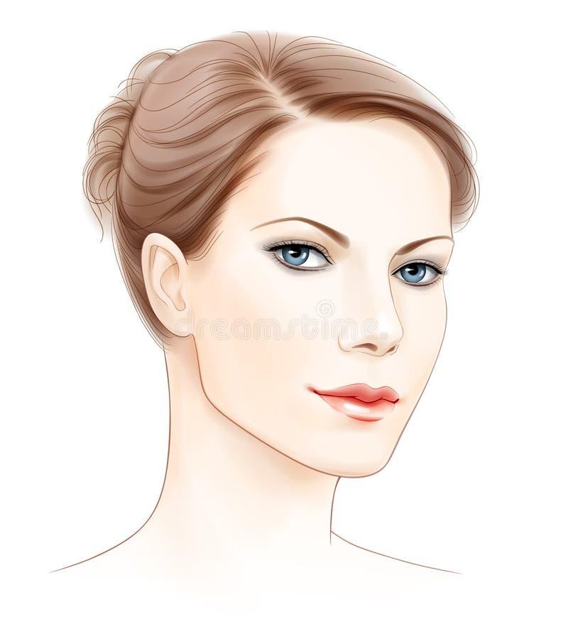 Face do vetor da mulher bonita ilustração stock