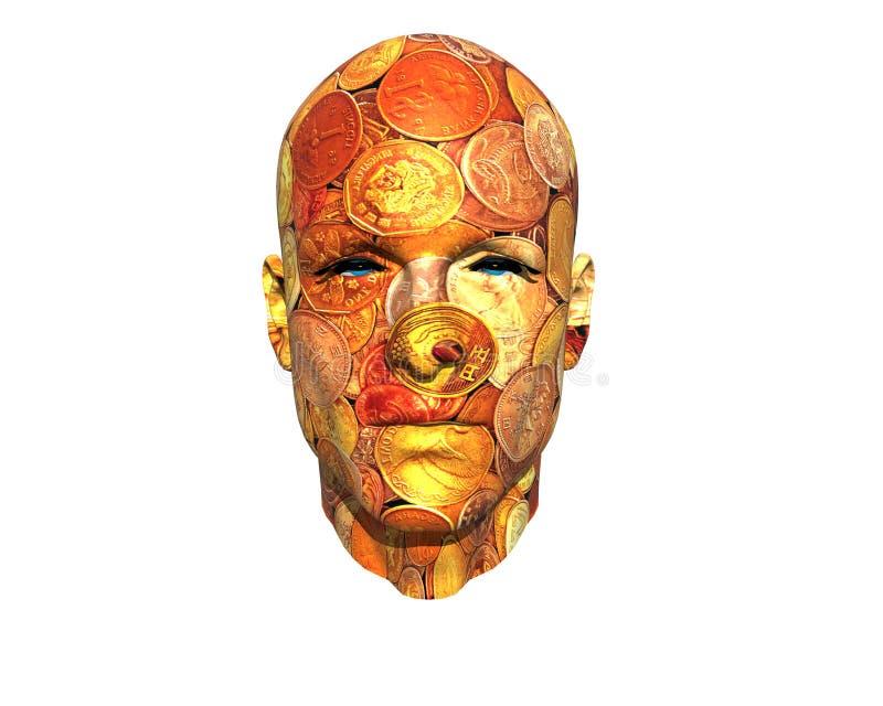 face dos homens 3D com textura ilustração royalty free