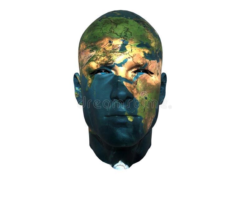face dos homens 3D com textura da terra ilustração stock