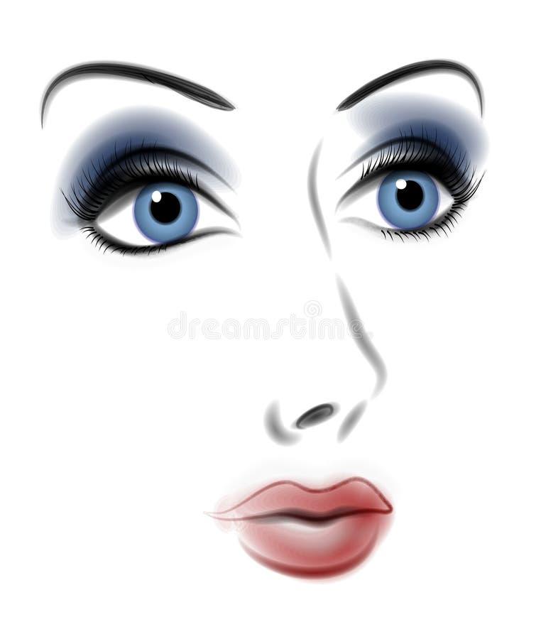 Face dramática da cor da mulher ilustração royalty free