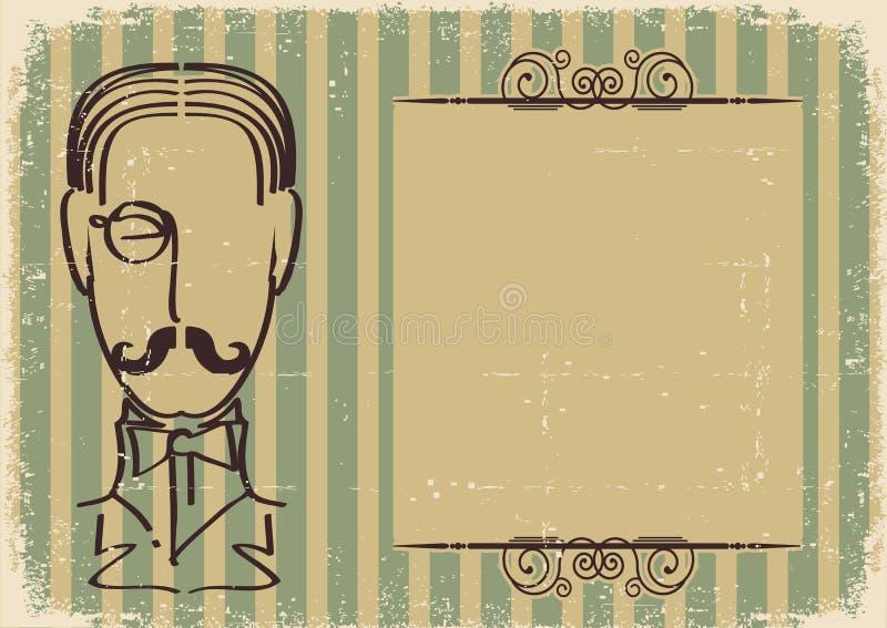 Face e bigode do homem. ilustração stock