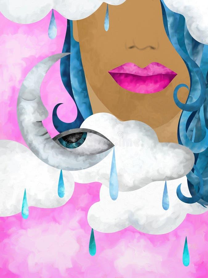 Face e lua ilustração royalty free