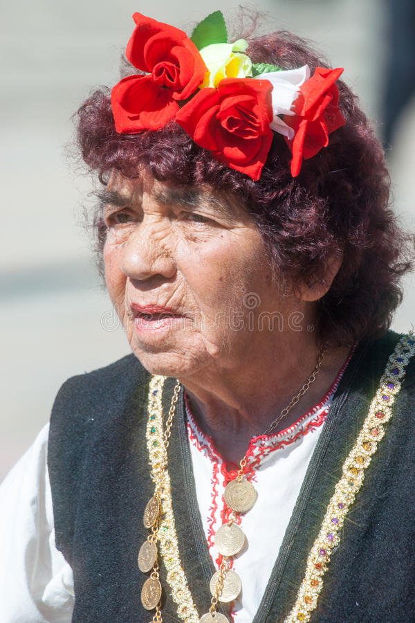 The face of an elderly Bulgarian woman stock photo