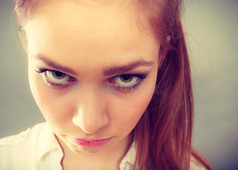Unhappy worried young woman, sad teen girl royalty free stock photo