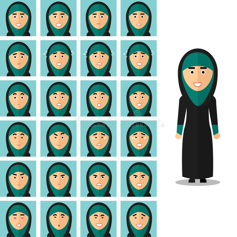 Face emotions of arab woman. Vector set in flat stock illustration