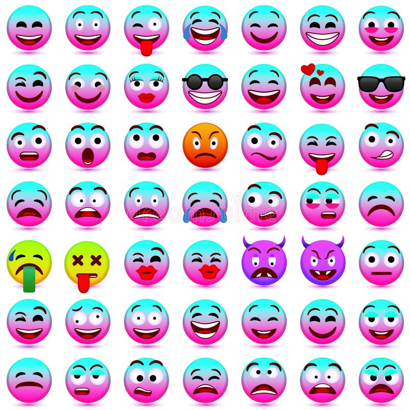 Face emotions. Facial expression. Vector illustration.Pink and blue smileys 2018. stock illustration