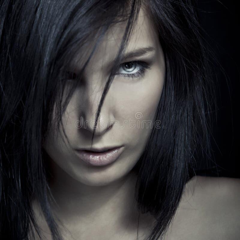 Face escura da menina da expressão da emoção imagens de stock