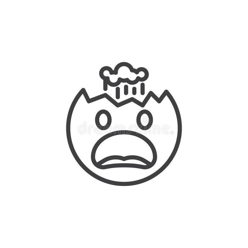 Face With Exploding Head emoji line icon. Linear style sign for mobile concept and web design. Furious emoticon outline vector icon. Symbol, logo illustration royalty free illustration