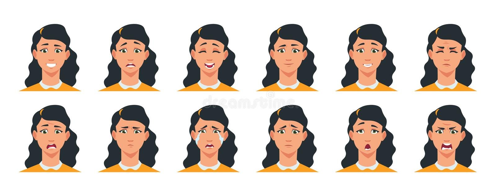 Face expression. Cartoon girl character with sad happy angry surprised emotion. Vector woman avatar constructor with royalty free illustration
