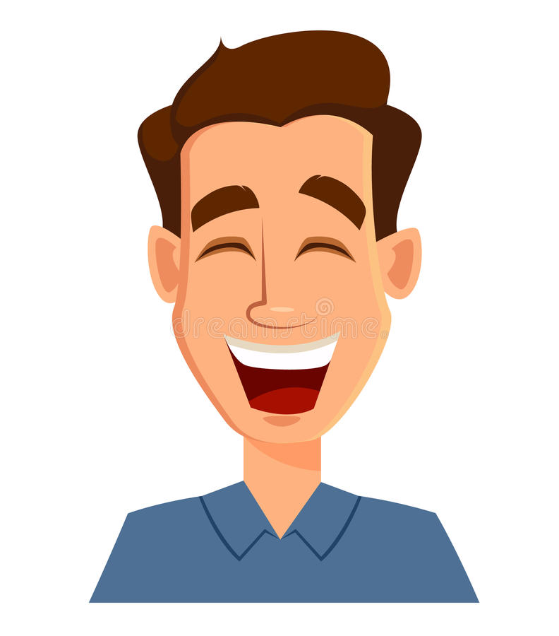 Face expression of a man - laughing. Male emotions. Handsome cartoon character. Vector illustration isolated on white background vector illustration