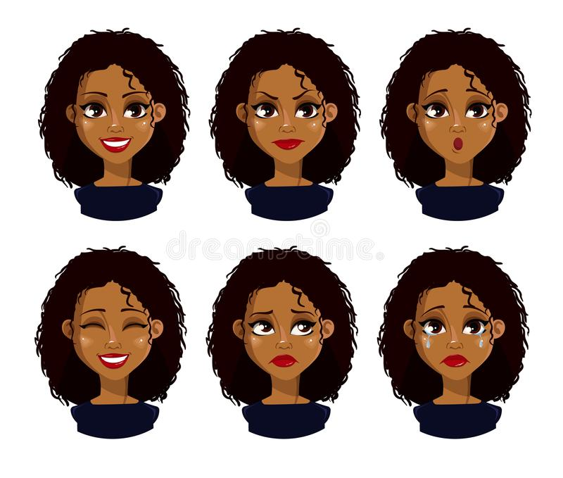 African American business woman cartoon character stock illustration