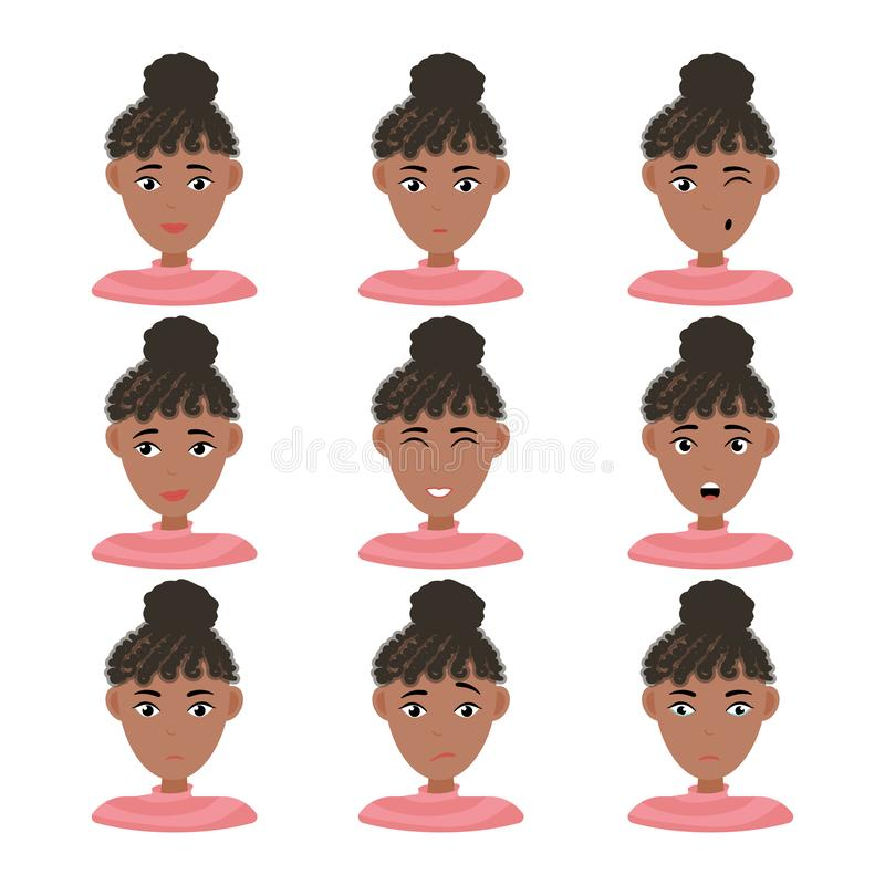 Face expressions of African American woman with dark hair royalty free illustration