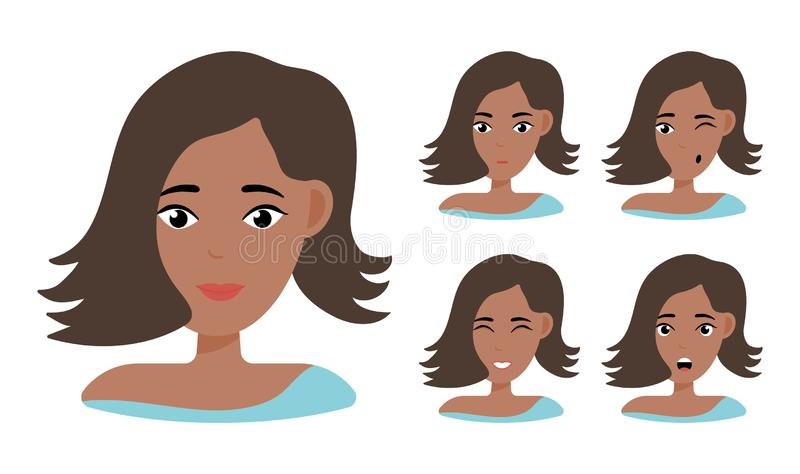 Face expressions of African American woman royalty free illustration